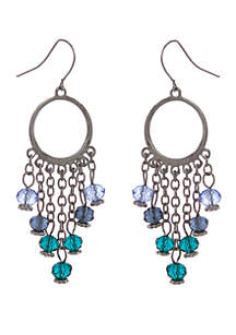 Silver-Tone Earrings with Light Sapphire, Montana, and Blue Zirconia Glass Bead Drops