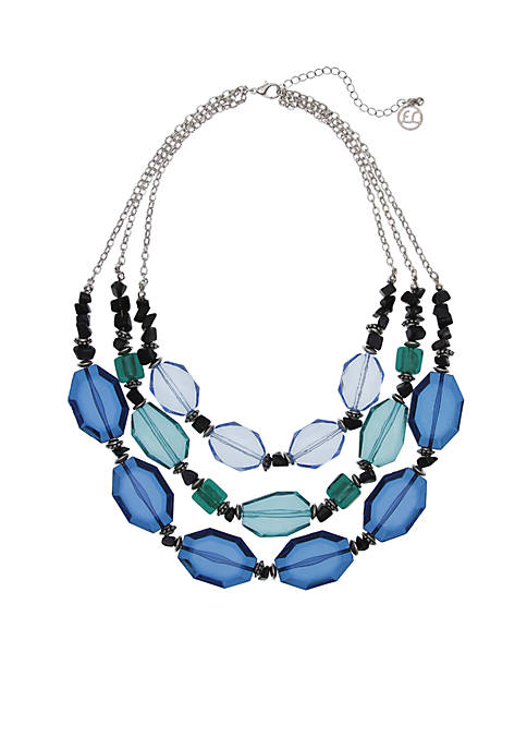 Erica Lyons Silver-Tone 3 Row Faceted Bead Necklace