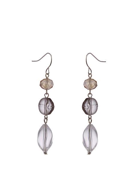 Silver-Tone Linear Bead Earrings