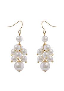 Gold-Tone Pearl Cluster Drop Earrings