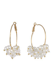 Gold-Tone Pearl Hoop Earrings