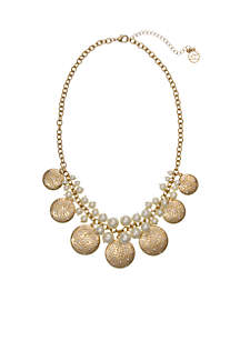 Gold-Tone Pearl Collar Necklace