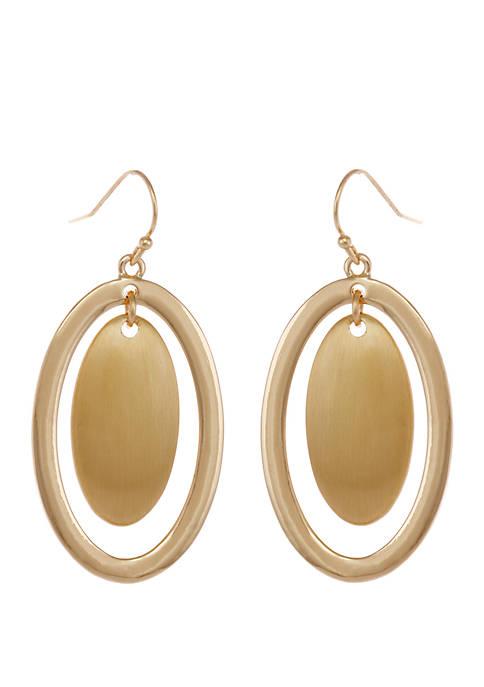 Gold Tone Oval Drop Earrings