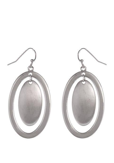 Silver-Tone Oval Disc Earrings