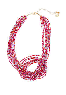 Erica Lyons Gold Tone Multi Row Multi Colored Seedbead Knot Necklace