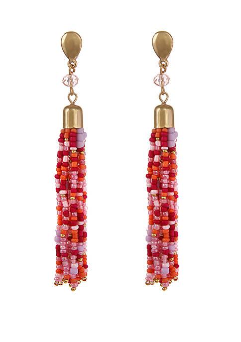 Erica Lyons Gold Tone Tassel Pierced Earrings with