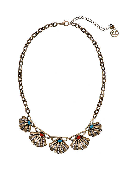 Gold Tone Collar Necklace with Shell Casting and Turquoise And Coral Bead Detail