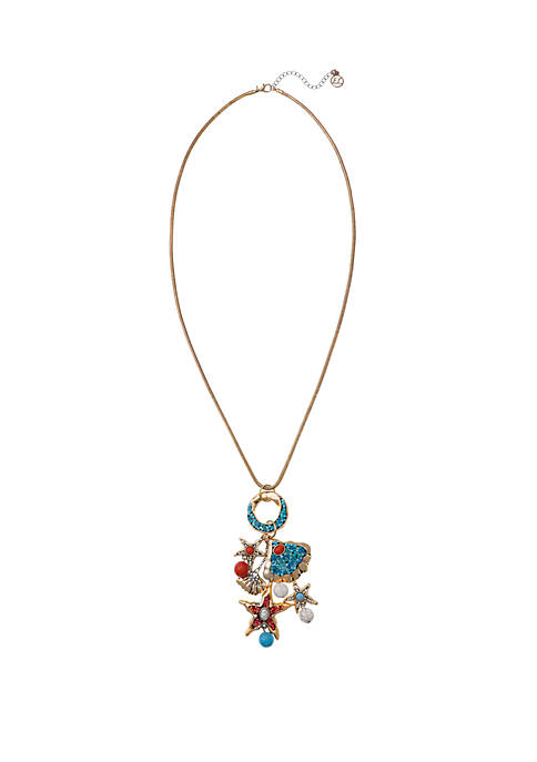 Gold Tone Long Pendant Necklace with Starfish and Shell Charms