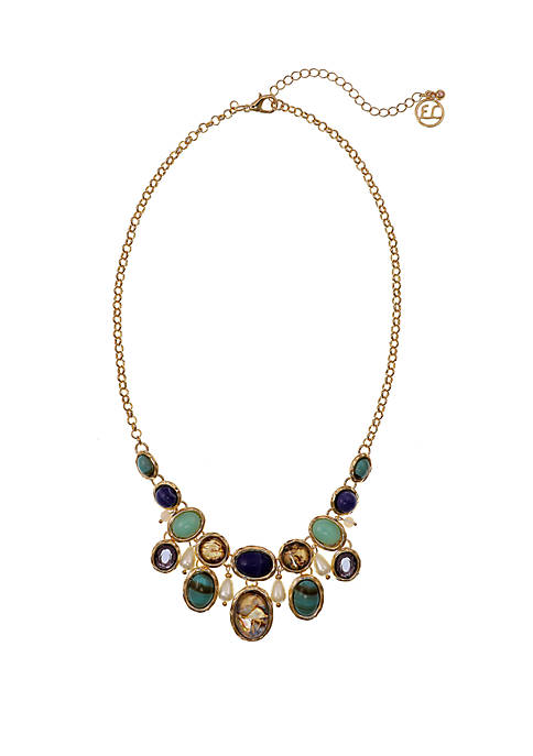 Gold Tone Bib Necklace with Abalone Shell and Semi-Precious Stone Accents