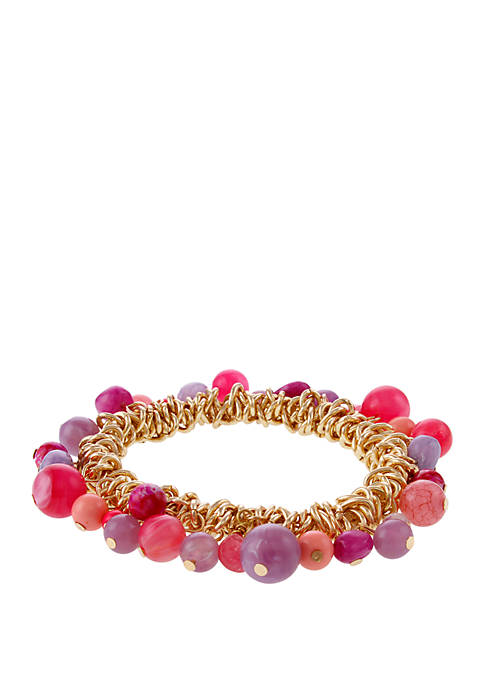 Erica Lyons Gold Tone Shaky Stretch Bracelet with