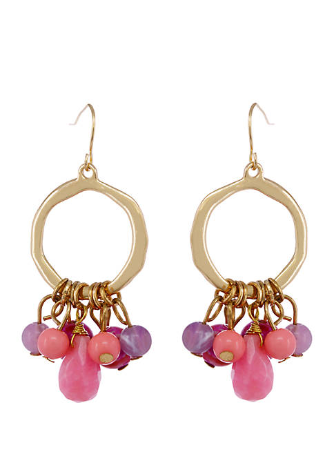 The Fuchsia Is Bright Gold Tone Drop Hoop Pierced Earrings with Assorted Beads