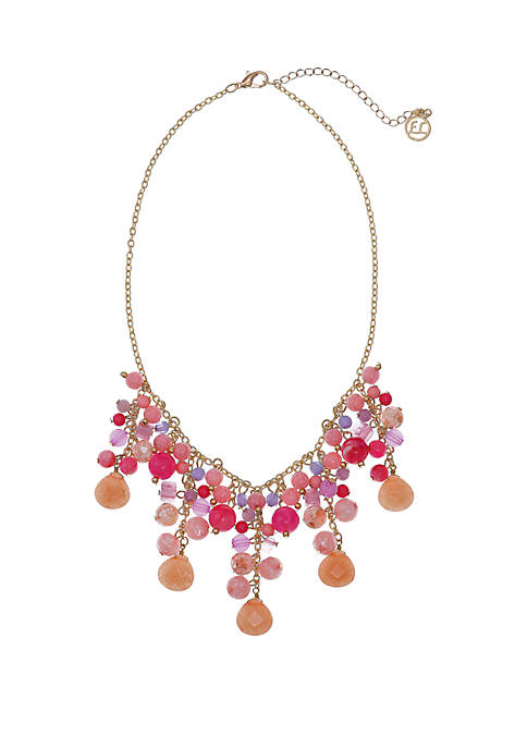 Erica Lyons Gold Tone Statement Necklace with Multicolor