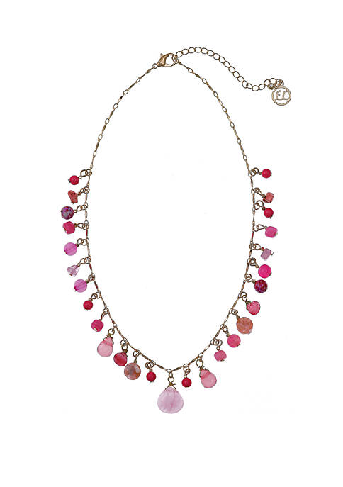 Gold Tone Collar Necklace with Pink Glass Beads