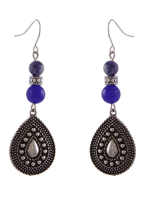 Erica Lyons Silver-Tone Linear Drop Earrings