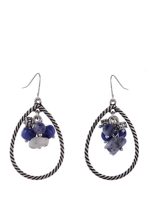 Silver-Tone Teardrop Bead Cluster Earrings
