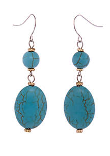 Silver-Tone Oval Reconstituted Turquoise Bead Drop Earrings
