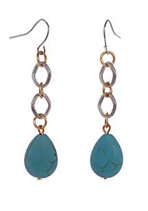 Silver-Tone Turquoise Teardrop Earrings