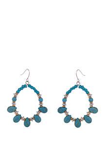 Silver-Tone Turquoise Beaded Teardrop Earrings
