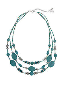 Silver-Tone 3-Row Beaded Turquoise Necklace