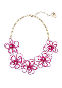 Erica Lyons Gold Tone Collar Necklace with Seed Bead Shaped Flowers