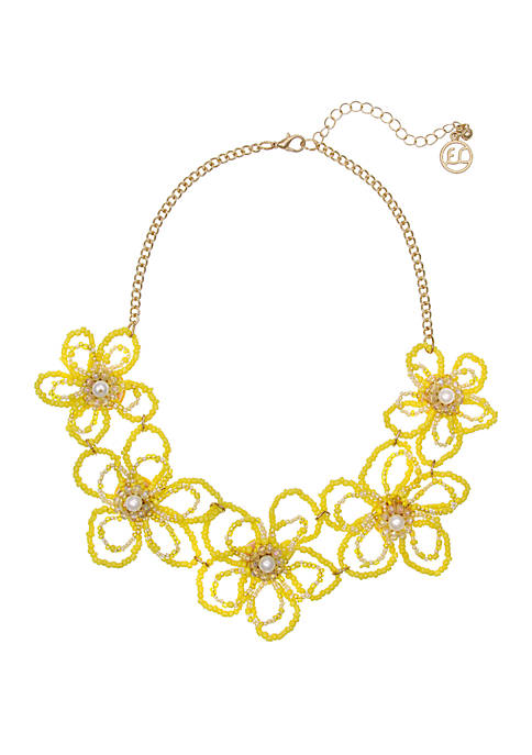 Erica Lyons Gold Tone Collar Necklace with Seed