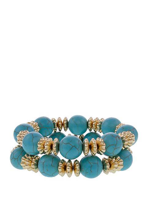 Gold-Tone 2-Piece Turquoise Stretch Bracelet Set