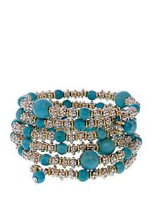 2-Tone Turquoise Coil Bracelet