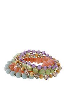 Multi-Row Beaded Stretch Bracelet