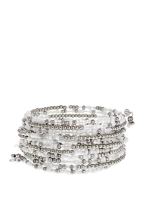 Erica Lyons Silver Tone White Seed Bead Coil