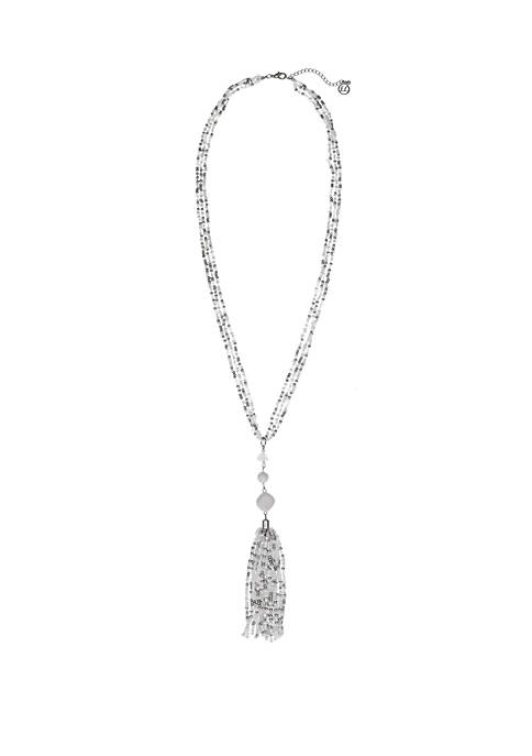 Silver Tone Seed Bead Tassel Necklace with Howlite Accents