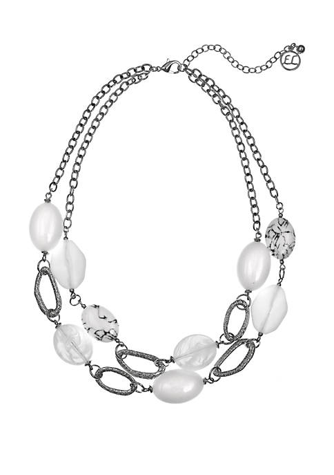 Erica Lyons Silver Tone 2 Row Beaded Necklace