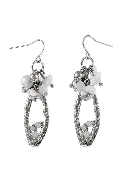 Erica Lyons Silver Tone Teardrop Pierced Earrings with