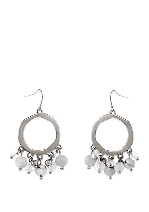 Erica Lyons Silver Tone Beaded Drop Pierced Earrings