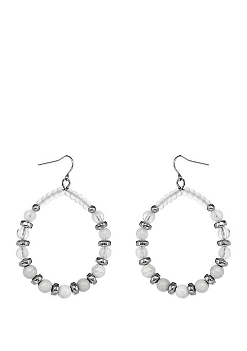 Silver Tone Beaded Teardrop Pierced Earrings