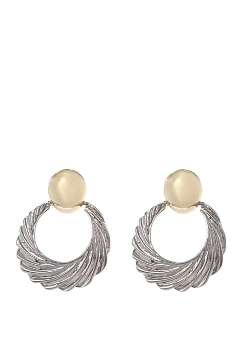 2 Tone Textured Drop Clip Earrings
