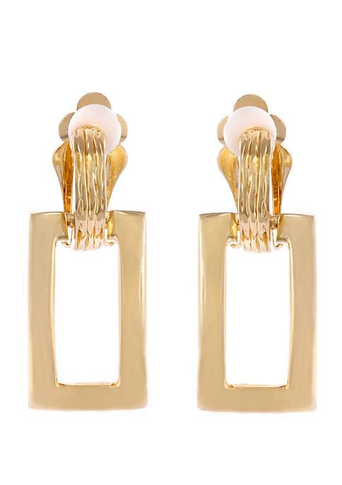 Gold Tone Rectangle Drop Clip Earrings