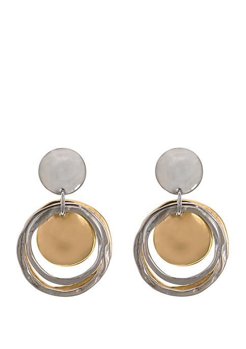2 Tone Double Ring Drop Clip Earrings
