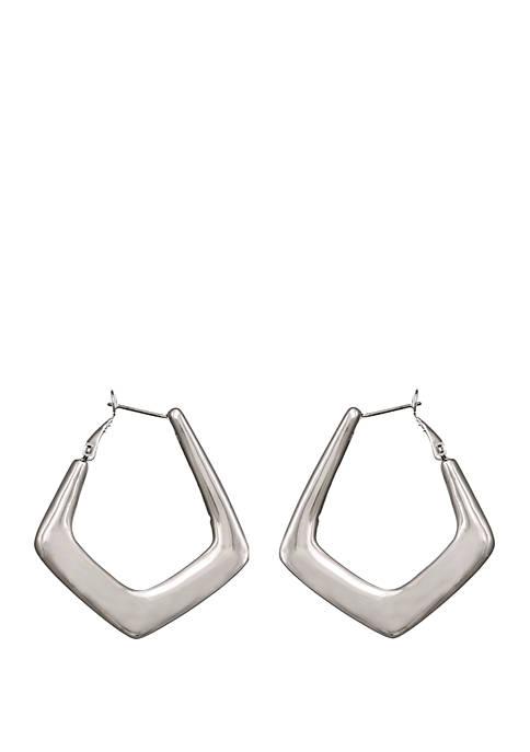 Erica Lyons Silver Tone Diamond Shape Pierced Hoop