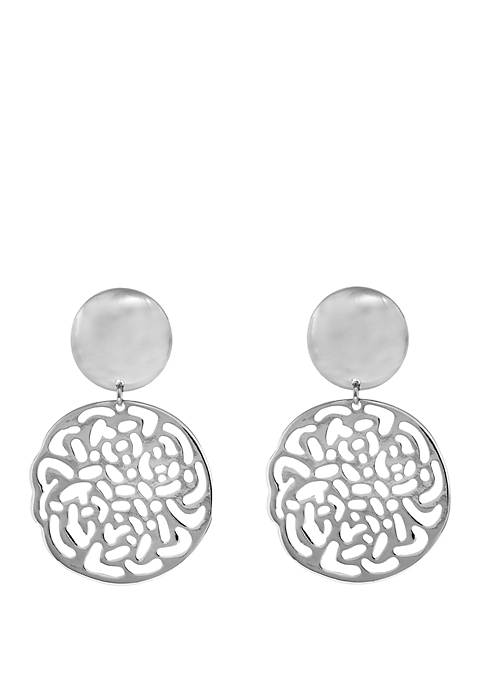 Silver Tone Filigree Drop Clip Earrings