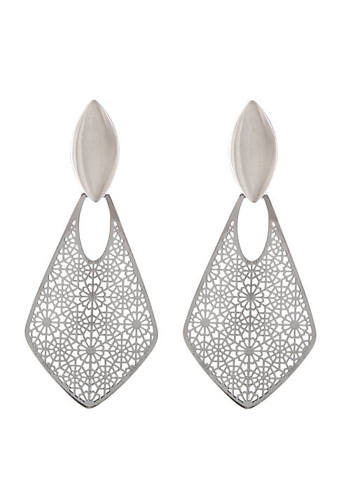 Erica Lyons Silver Tone Filigree Drop Clip Earrings