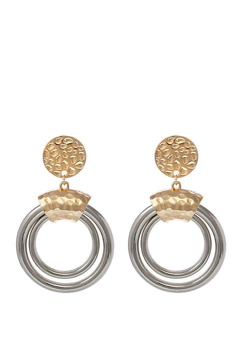 2 Tone Clip Earrings with Hammered Top and Double Ring Drops