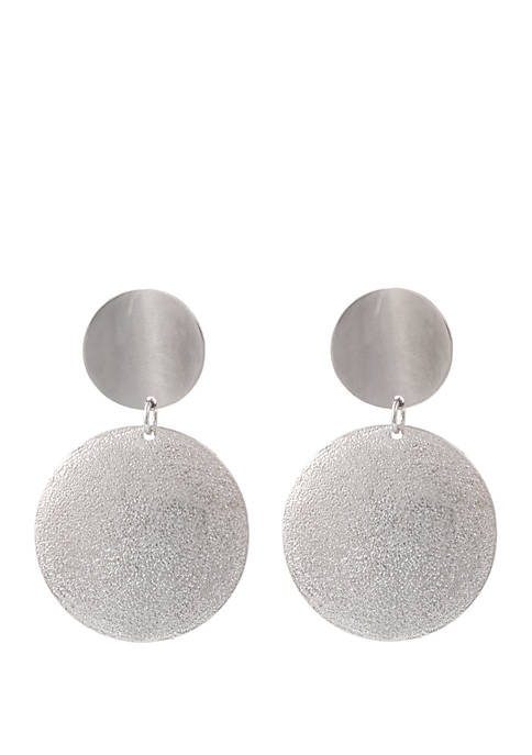 Silver Tone Clip Disc Earrings with Diamond Dust Finish