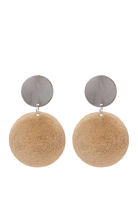 2 Tone Clip Disc Earrings with Diamond Dust Finish