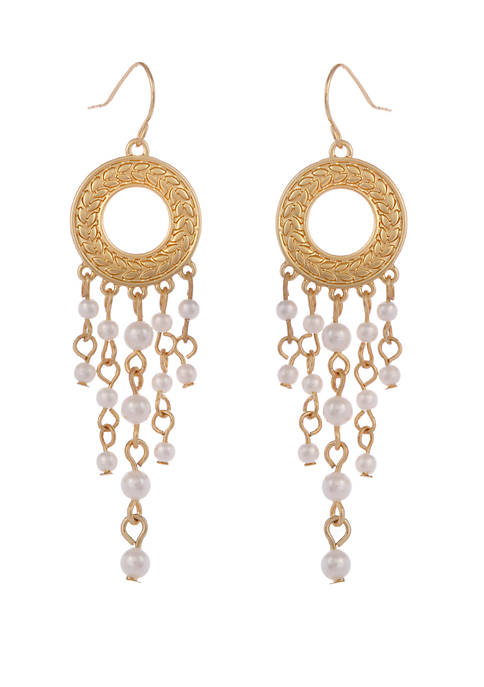 Erica Lyons Gold Tone Disc Drop Pierced Earrings
