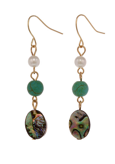 Gold Tone Linear Pierced Earrings with Abalone Shell Accents