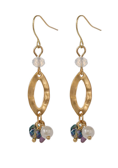 Gold Tone Hammered Navette Pierced Earrings with Semi Precious Chip Accents