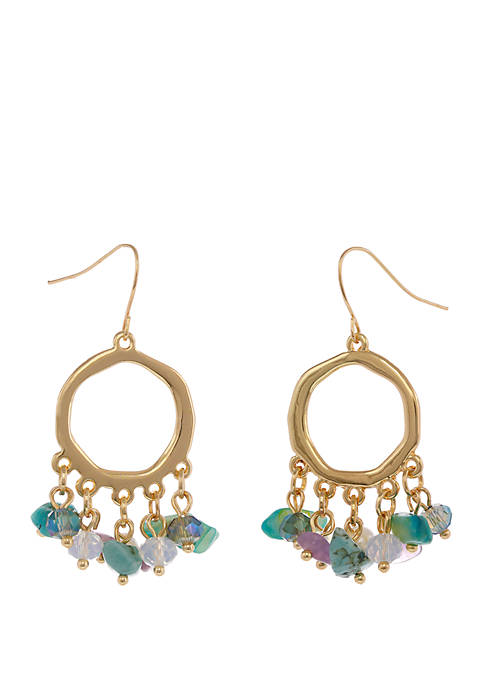 Erica Lyons Gold Tone Earrings with Turquoise Shell