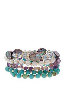 Erica Lyons Gold Tone Shell and Semi Precious Stretch Bracelets