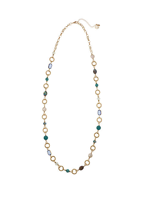 Erica Lyons Gold Tone Long Necklace with Abalone