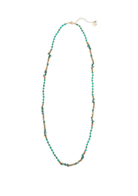 Gold Tone Long Single Strand Necklace with Turquoise Chips